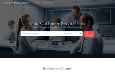 customerservicedirectory.com screenshot