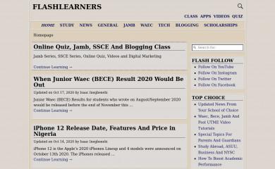 flashlearners.com screenshot