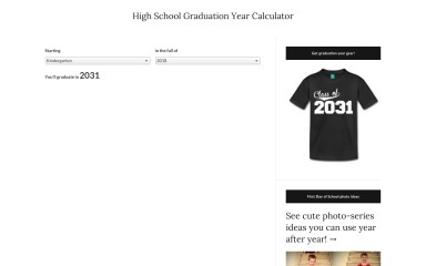 graduationyearcalculator.com screenshot