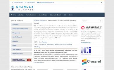 shanlaxjournals.in screenshot