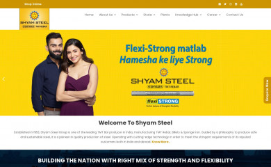 shyamsteel.com screenshot