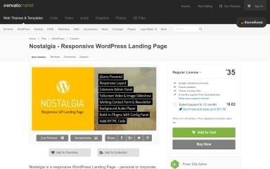 Nostalgia - Responsive Wordpress Landing Page screenshot