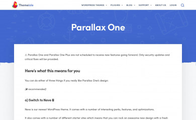 http://themeisle.com/themes/parallax-one/ screenshot