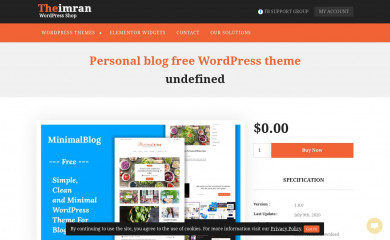 https://theimran.com/themes/wordpress-free-themes/personal-blog-free-wordpress-theme/ screenshot