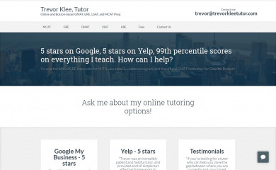 trevorkleetutor.com screenshot